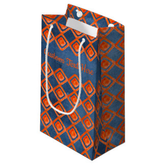 Orange Navy Blue Watercolor Pattern Small Gift Bag