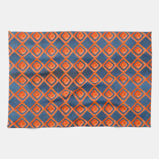 Orange Navy Blue Watercolor Pattern Tea Towel