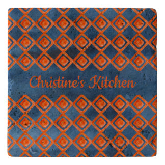 Orange Navy Blue Watercolor Pattern Trivet