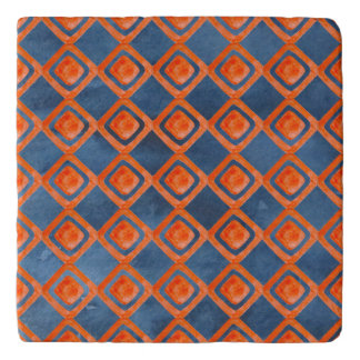 Orange Navy Blue Watercolor Pattern Trivet