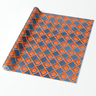Orange Navy Blue Watercolor Pattern Wrapping Paper