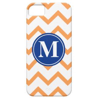 Orange Navy Chevron Monogram iPhone 5 Cover