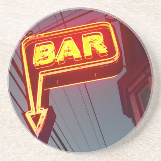 Orange Neon Bar Sign Photograph Coasters