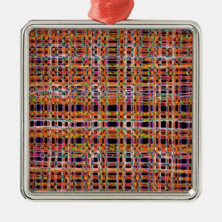 Orange neon lines pattern Silver-Colored square decoration