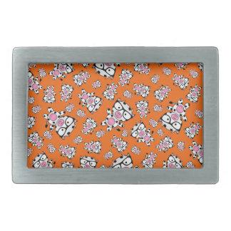 Orange nerd cow pattern rectangular belt buckle