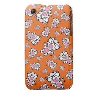 Orange nerd cow pattern iPhone 3 Case-Mate cases