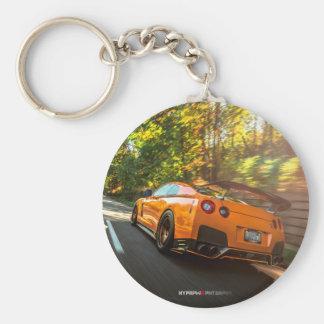 Orange Nissan GT-R Ripping through Seattle streets Basic Round Button Key Ring