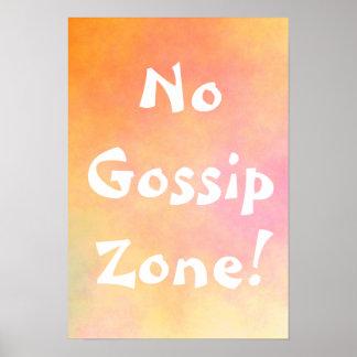 Orange No Gossip Zone Poster
