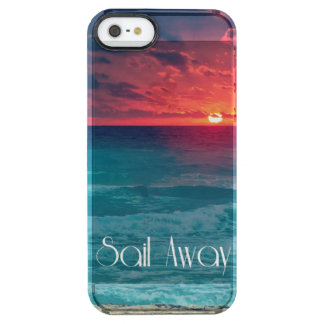 Orange Ocean Sunset with Sail Away Clear iPhone SE/5/5s Case