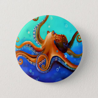 Orange Octopus 6 Cm Round Badge
