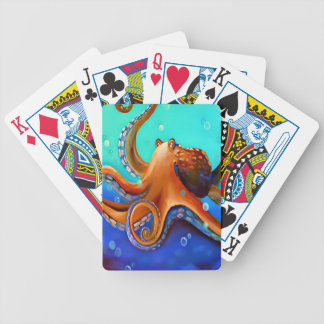 Orange Octopus Bicycle Playing Cards