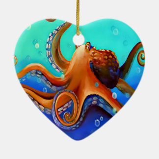 Orange Octopus Ceramic Ornament