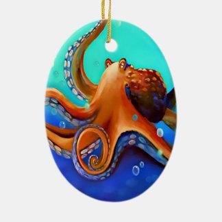 Orange Octopus Ceramic Oval Decoration