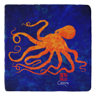 Orange Octopus - Marble Trivet