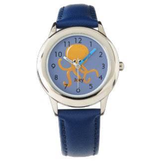 Orange Octopus on Blue Personalized Child's Watch