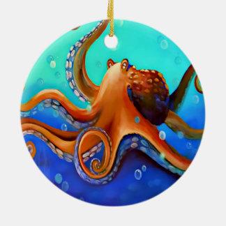 Orange Octopus Round Ceramic Decoration