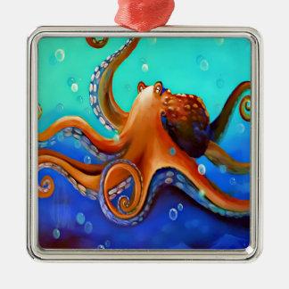 Orange Octopus Silver-Colored Square Decoration