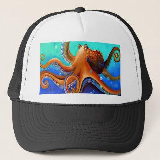 Orange Octopus Trucker Hat