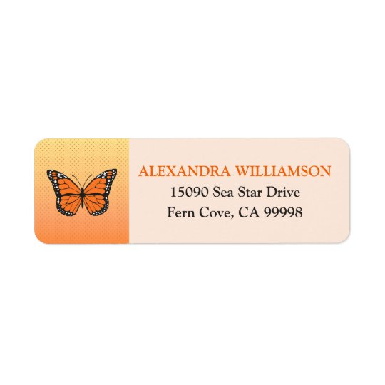 Orange Ombre and Dots Butterfly Custom Return Address Label