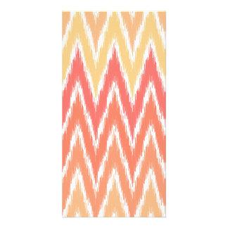 Orange Ombre Ikat Chevron Zig Zag Stripes Pattern Customised Photo Card