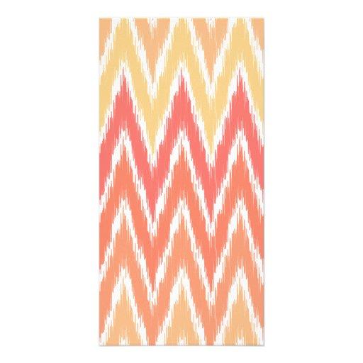 Orange Ombre Ikat Chevron Zig Zag Stripes Pattern Photo Card