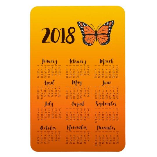 Orange Ombre Monarch Butterfly 2018 Calendar Magnet