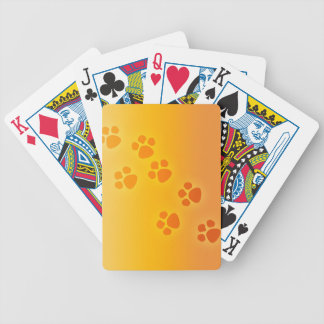 Orange Ombre Paw Print Heart - Paws Print Bicycle Playing Cards