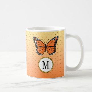 Orange Ombre & Tiny Dots Butterfly Monogram Coffee Mug