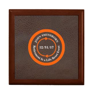 Orange on Brown Retirement Keepsake Box