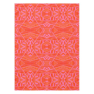 Orange on Pink Geometric Pattern Tablecloth by KCS