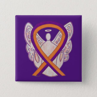 Orange & Orchid Angel Awareness Ribbon Custom Pins