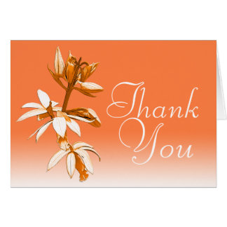 Orange Orchid Colorful Fun Modern Floral Thank You Card