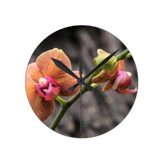 Orange Orchid Round Clock