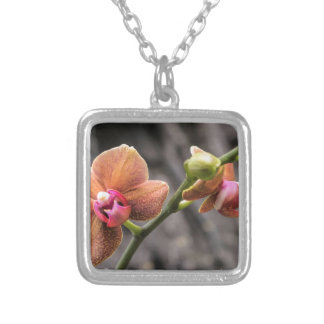 Orange Orchid Silver Plated Necklace
