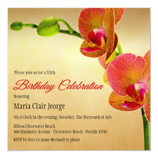Orange Orchids Birthday Party Invitation