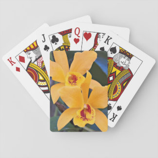 Orange Orchids Floral Playing Cards