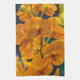 Orange orchids kitchen towel