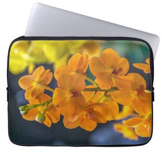 Orange orchids laptop sleeve