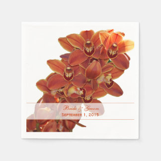 Orange Orchids Wedding Paper Napkins Paper Napkin