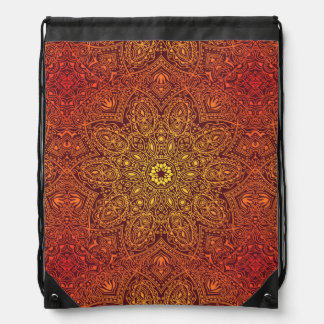 Orange Ornamental Lace Pattern Drawstring Bag
