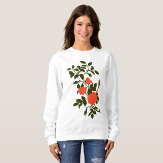Orange Ornamental Rose Recolored Vintage Image Sweatshirt