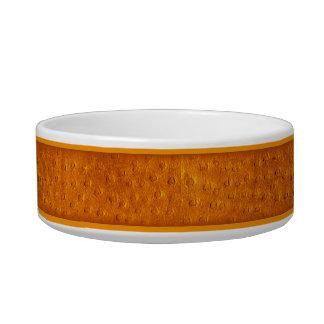 Orange Ostrich Print Ceramic Small Dog Bowl