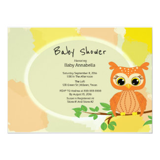 Orange Owl Baby Shower 14 Cm X 19 Cm Invitation Card