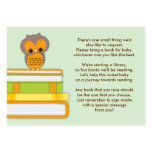 Orange Owl Baby Shower Book Insert Request Card Pack Of Chubby Business Cards