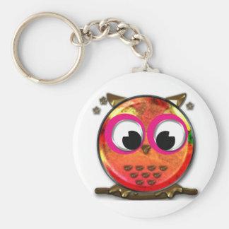 Orange owl basic round button key ring