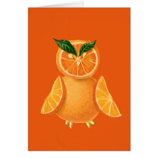 Orange owl card