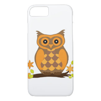 Orange Owl Perched With Flowers iPhone 7 Case