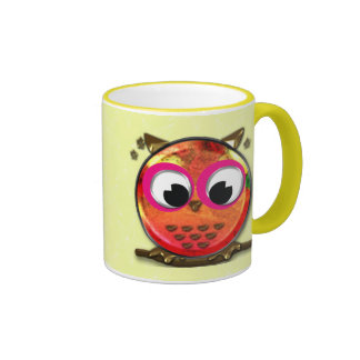 Orange owl ringer mug