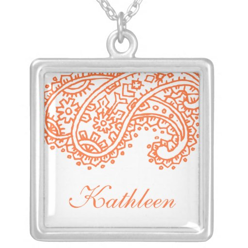 Orange Paisley Bridal Party Gift Necklace