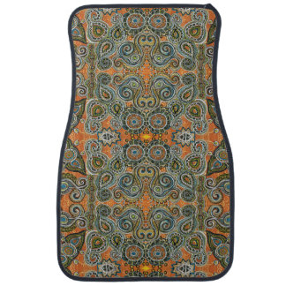 orange paisley car mat